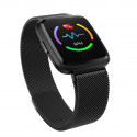 MARK-Black Executive Smart Watch Metal Body, Color Screen, Continue Heart Rate Monitor, Milanese Steel Band