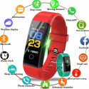 REX PLUS-Red Smart Bracelet Heart Rate Blood Pressure Smart Band Fitness Tracker Smartband Bluetooth Wristband For Man And Women